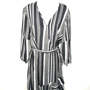 Esqualo Faux Wrap Dress Size12 Black White Stripes